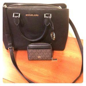 Black Michael Kors Pebbled Leather Satchel